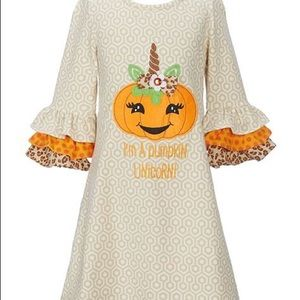 Rare Editions Pumpkin Unicorn Fall Dress Size 5